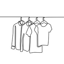 Continuous One Line Drawing Of Sweater, Shirt, And T-shirt Hanging On Clothing Rack. Minimalistic Style Of Fashionable Wardrobe Collection. Continuous Vector Background With Clothes And Hangers.