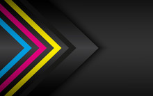 Cmyk Arrows On Black Metal Background. Abstract Modern Vector Template With Place For Your Text. Material Design Widescreen Background
