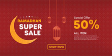 Ramadan Super Sale Banner Vector. Template For Promotion And Web Advertisement. Red And Gold Colors. Luxury And Elegant Design With Discount Offer, Eps 10.