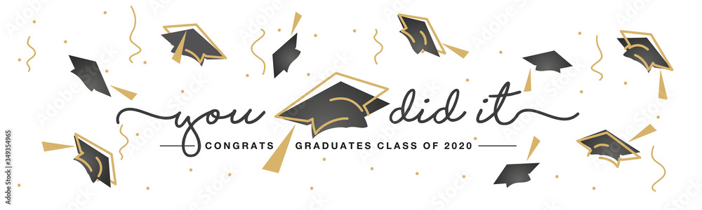 Fototapeta Class of 2020 You did it handwritten typography lettering text Congratulations graduates line design gold black white isolated background banner