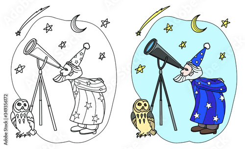 Photo Old astronomer in mantle and cap with his owl looking through a telescope at the starry sky