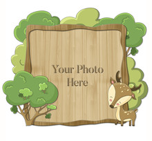 Wooden Frame With Cute Cartoon...