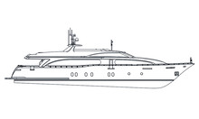 Yacht. Vector Luxury Liner Yacht Isolated On White Background. Sea Tourism, Holiday Vacation Concept.