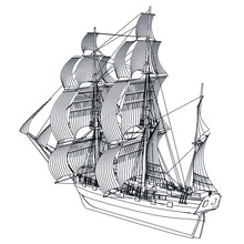 Sailing Ship, Sailboat Isolate...