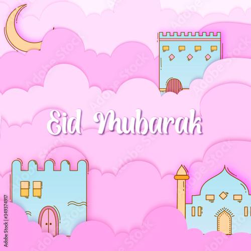 Obraz Paper Cut Style Cheerful Eid Mubarak Illustration - fototapety do salonu