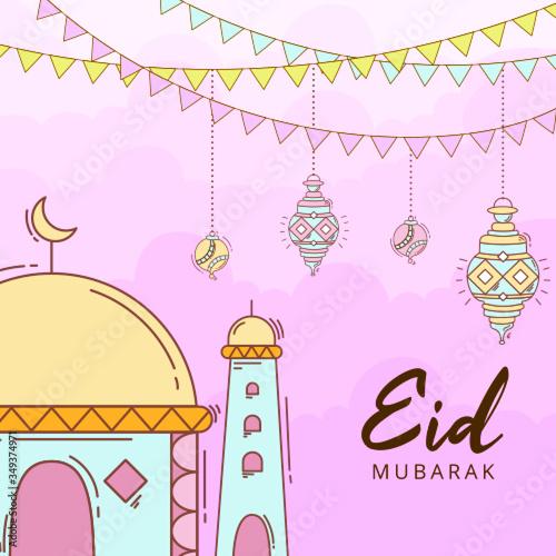 Obraz Paper Cut Style Eid Mubarak Illustration - fototapety do salonu