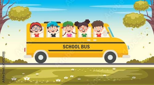 Fototapeta Cartoon Characters Travelling With Vehicle  obraz