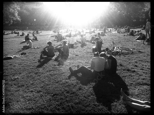 Fototapeta Large Group Of People Sitting On Grass obraz