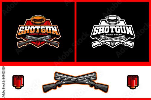 Fototapeta clay pigeon shooting sport vector logo template