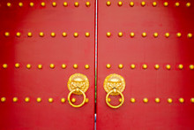 Old Chinese Red Wooden Door Ba...