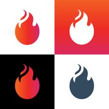 Fire Flame Logo Icon Design, Ignite Symbol Illustration - Vector