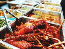High Angle View Of Food Served At Buffet Counter