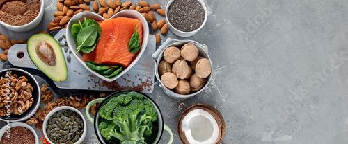 Fototapeta Food sources of omega 3 and healthy fats. obraz