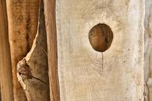 Knot Holes In A Oak Board. Une...