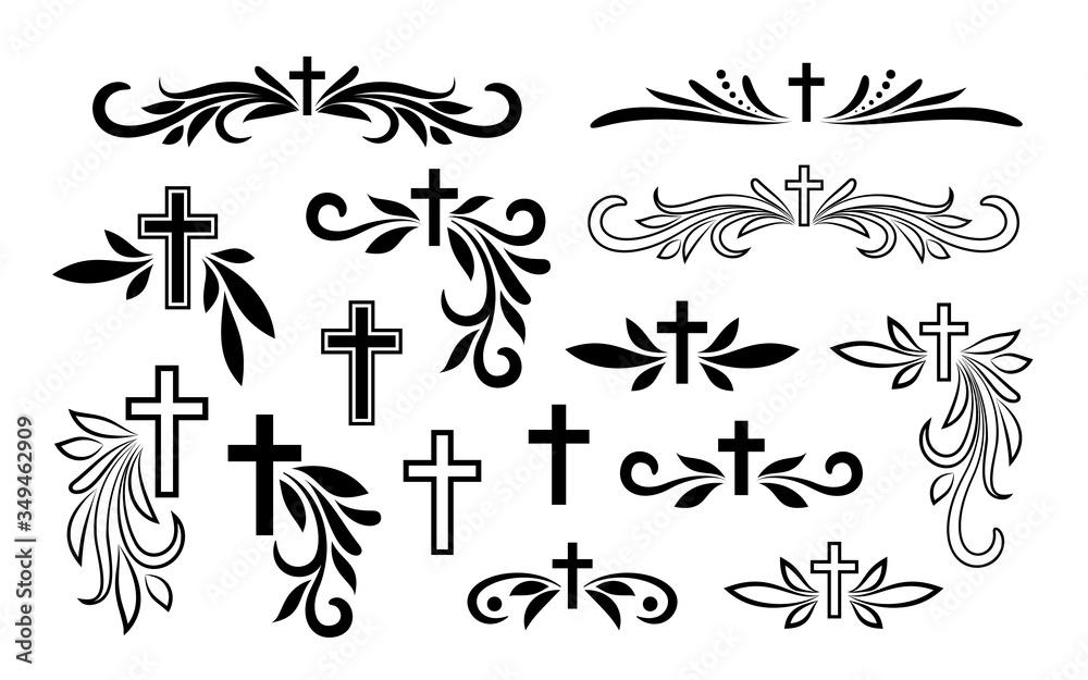 Fototapeta Funeral ornamental decorations. Vector memorial design elements. Border, divider, ribbon, frame and corner.