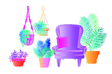 Neon Tropical Plants And Flowe...