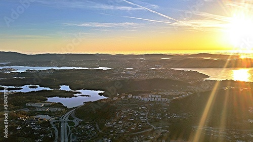 Ariel View Of Landscape Against Sky During Sunset Wallpaper Mural