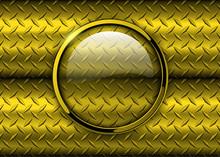 Glossy Button Over Metallic Gold Diamond Plate Metal Texture