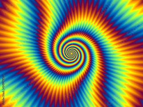 Naklejka premium Pulsujące ogniste spirale. Optyczne złudzenie ruchu.