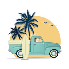 Surfing Retro Pick Up Truck Wi...