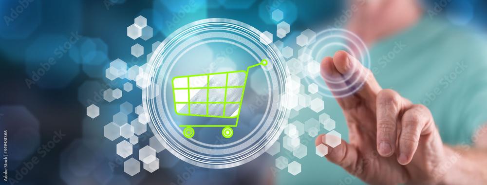 Fototapeta Man touching an e-commerce concept