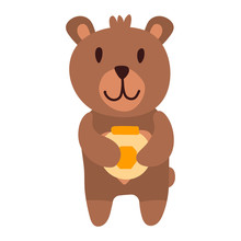 Cute Bear Cartoon Hand Drawn Vector Illustration In Flat Style With A Jar Of Honey. Can Be Used For Printing On T-shirts, Children S Clothing, Children S Invitation Cards