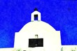 canvas print picture - the main facade of a small Orthodox church on one of the Greek islands