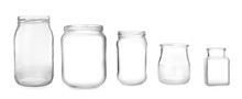 Set With Open Empty Glass Jars On White Background. Banner Design