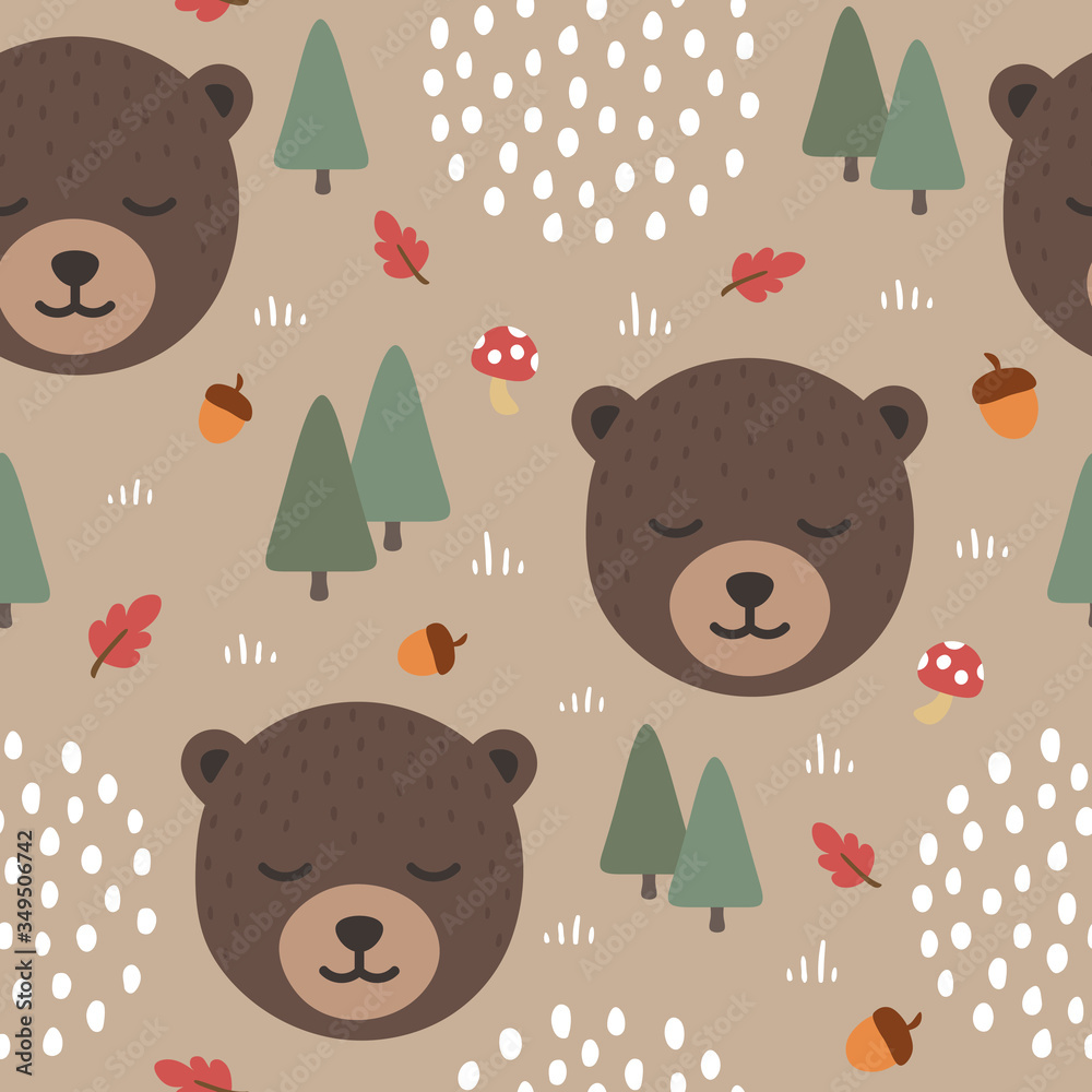 Bear seamless pattern background, Sleepy cute bear in the woodland forest with rainy clouds, Vector illustration