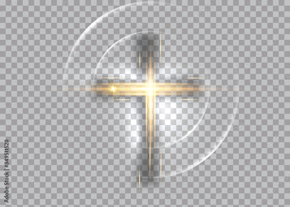 Fototapeta cross of light, shiny Cross with golden frame symbol of christianity. Symbol of hope and faith. Vector illustration isolated on transparent background