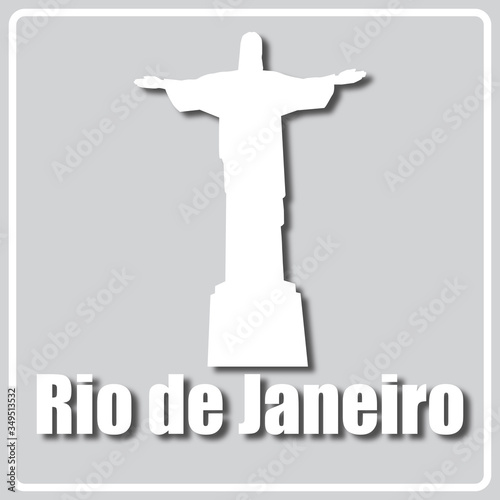 gray icon with light sights of Rio de Janeiro Wallpaper Mural