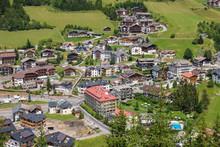 Santa Cristina Village In Val Gardena At  Italy In The Summer