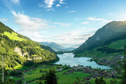 Aerial view on Lungernsee lake, Switzerland, Europe #349523513