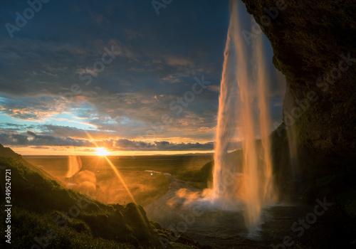 Seljalandsfoss waterfall at sunset, Iceland #349524721