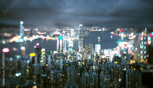 Hong Kong from Victoria peak, ltilt shift photo #349524902