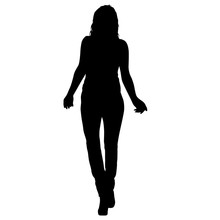 Silhouette Of A Walking Girl O...
