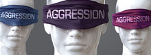 Aggression Can Blind Our Views And Limit Perspective - Pictured As Word Aggression On Eyes To Symbolize That Aggression Can Distort Perception Of The World, 3d Illustration