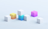 Abstract 3d render, modern geometric background design, composition of colorful cubes