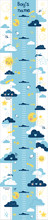 Headset For Children From Simple Clouds With Smiles And Various Additional Elements On The Theme Of The Sky. Made In A Flat, Minimalistic Doodle Style. For Use In Printing Design.