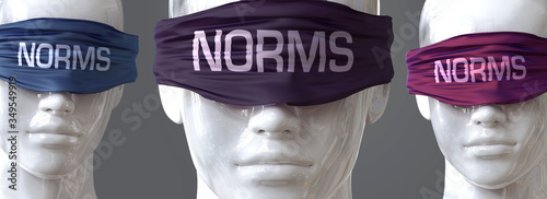 Obraz na plátně Norms can blind our views and limit perspective - pictured as word Norms on eyes