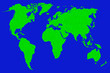 canvas print picture - world map on blue background.  green world map silhouette