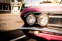 Close-up Of Vintage Car On Road