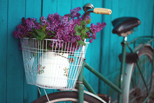 Bicycle Basket With A Bouquet ...