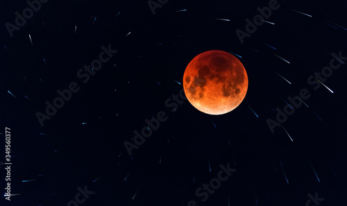 Fototapety, obrazy: Big colorful moon on the background of stars    Photo taken at night in Russia, spring 2020, Moscow, Sky, comets, moon
