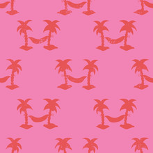 Hammocks Between Palm Trees Seamless Red And Pink Vector Pattern. Silhouettes Of Textured Coconut Palm Trees. Retro Grunge Style.