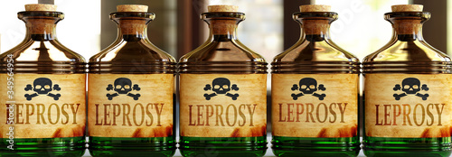 Photo Leprosy can be like a deadly poison - pictured as word Leprosy on toxic bottles