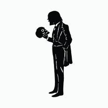 Man Holding A Skull Silhouette...