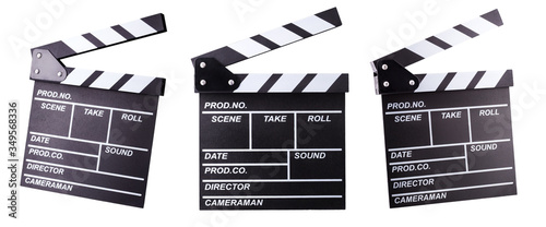 Photo Set of film clapper boards isolated on white background