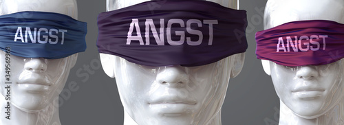 Photo Angst can blind our views and limit perspective - pictured as word Angst on eyes