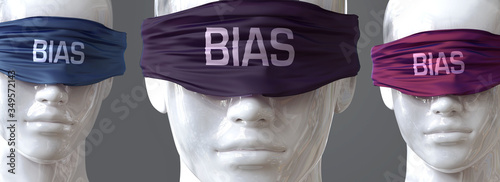 Fototapeta Bias can blind our views and limit perspective - pictured as word Bias on eyes t
